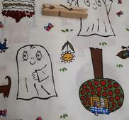 Spöket Laban och Lilla Anna vit 150*28 cm